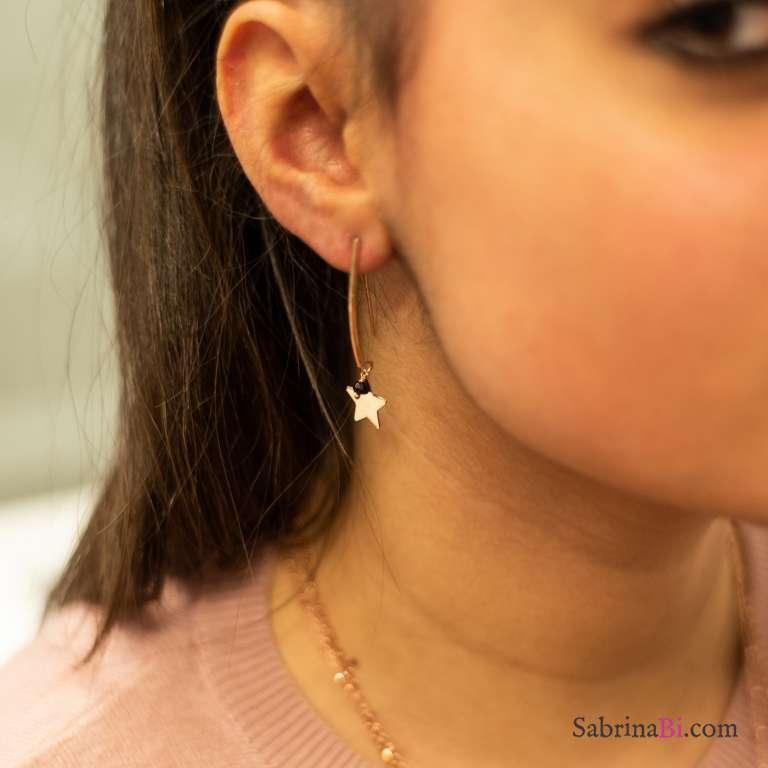 Orecchini pendenti ad amo argento 925 oro rosa Stelle