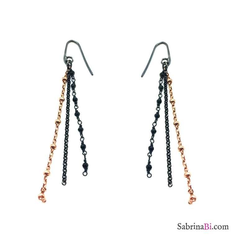 Orecchini pendenti argento 925 catene rodiato nero e oro rosa