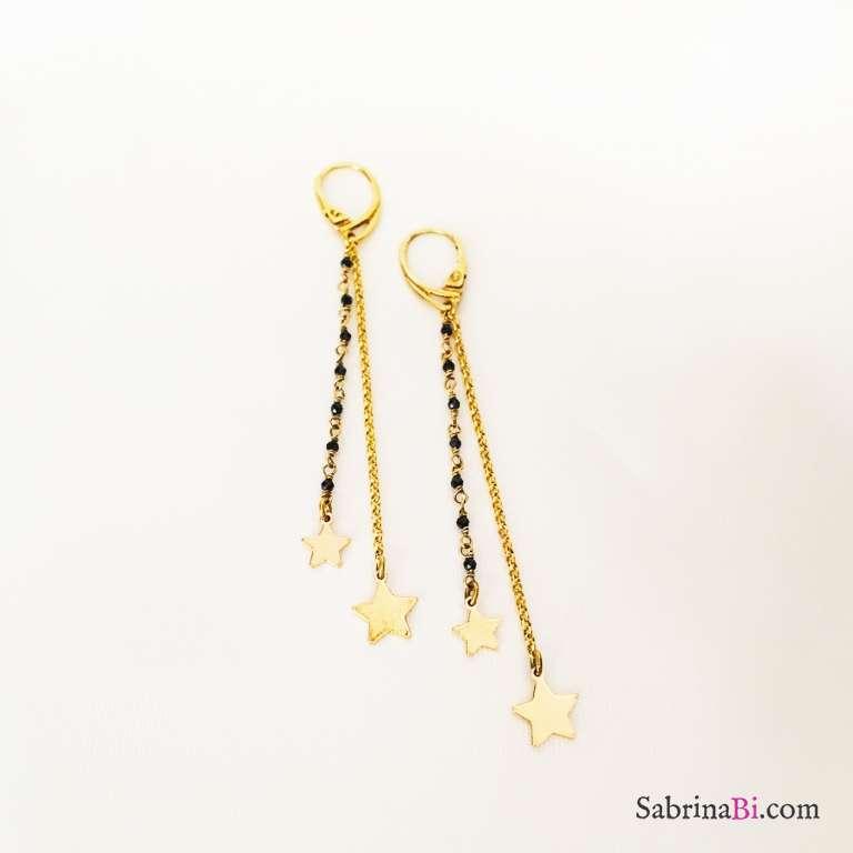 Orecchini pendenti argento 925 oro giallo Mon Etoile