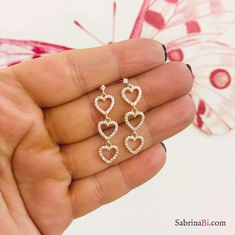 Orecchini pendenti argento 925 oro rosa 3 Cuori Zirconi