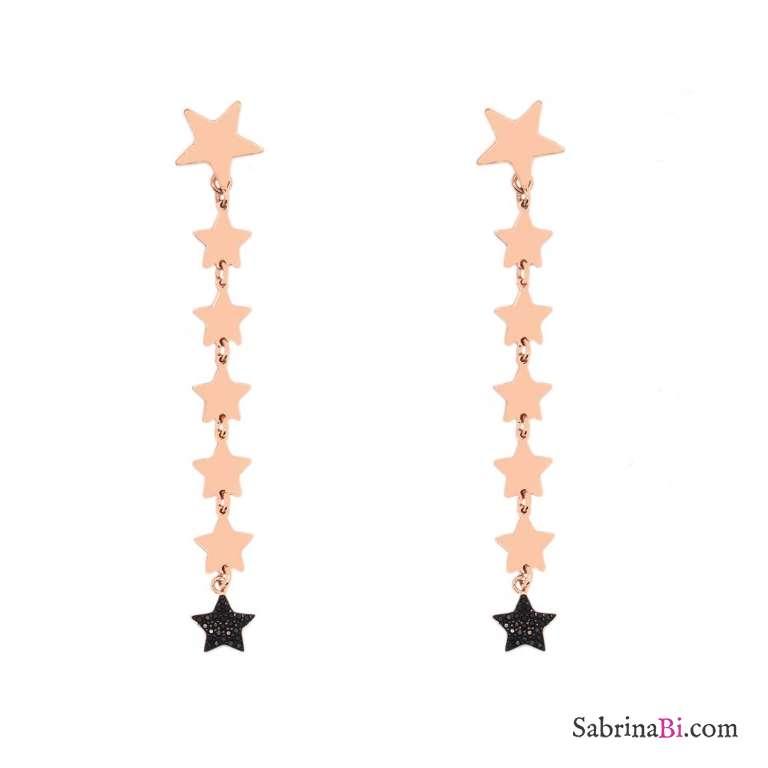 Orecchini pendenti argento 925 oro rosa 7 stelle + Zirconi neri