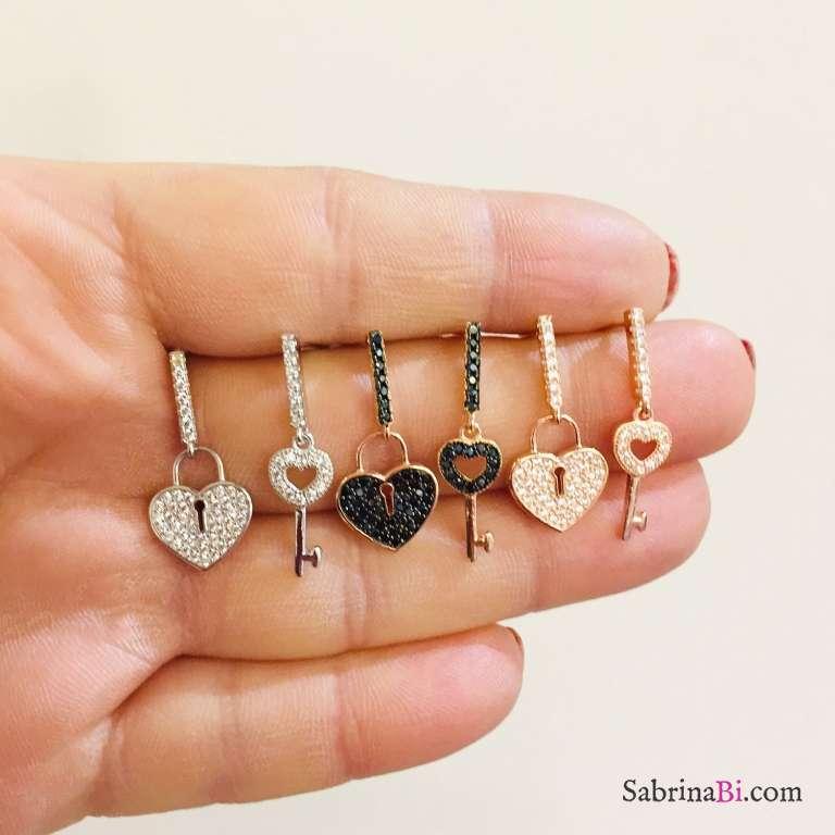 Orecchini pendenti argento 925 oro rosa Cuore Lucchetto Zirconi neri