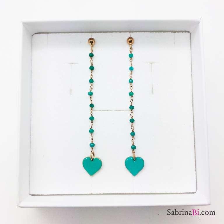 Orecchini pendenti argento 925 oro rosa Green Heart