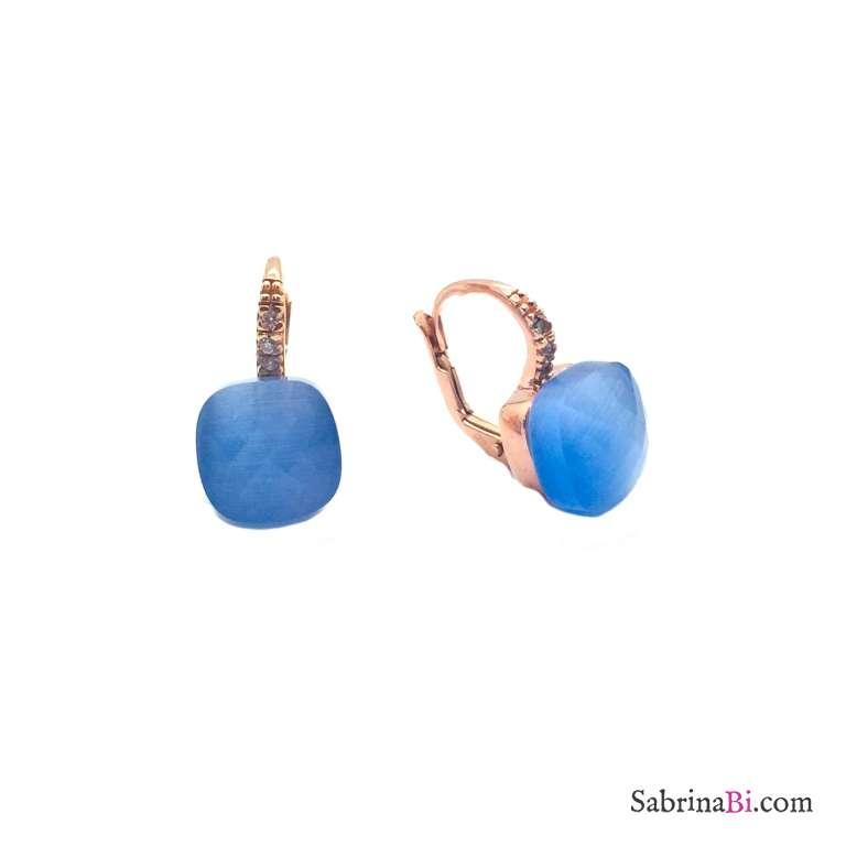Orecchini pendenti argento 925 oro rosa Opale azzurro