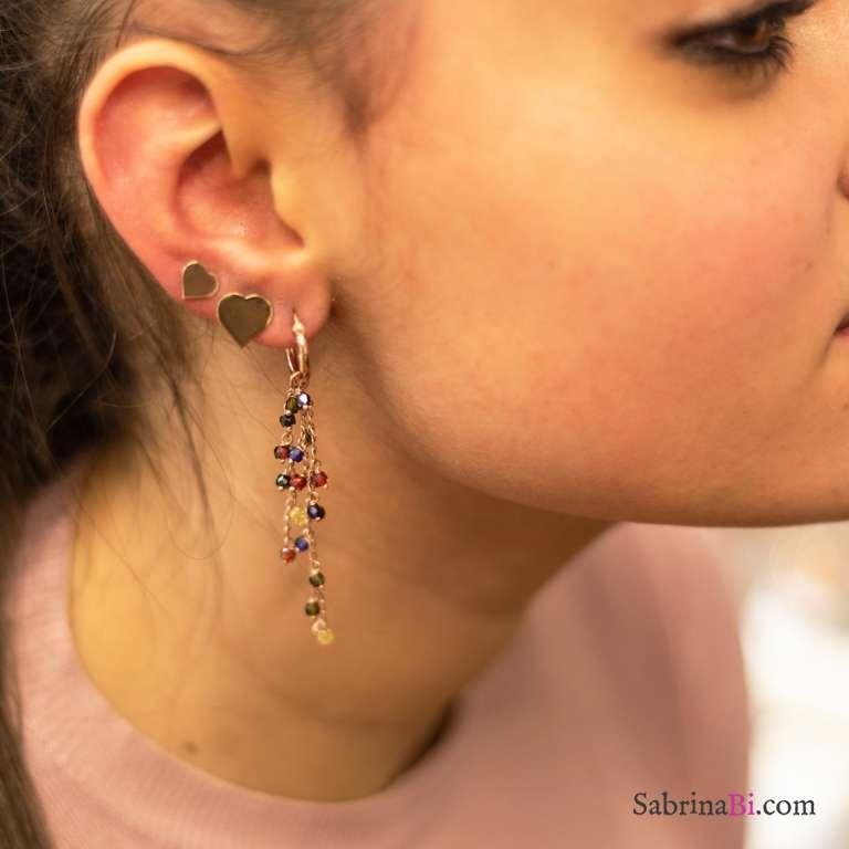 Orecchini pendenti argento 925 oro rosa pietre colorate