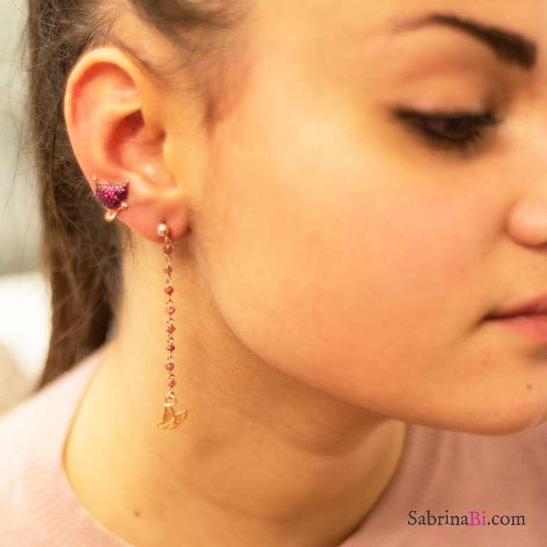 Orecchini pendenti argento 925 oro rosa radici di Rubino e farfalle