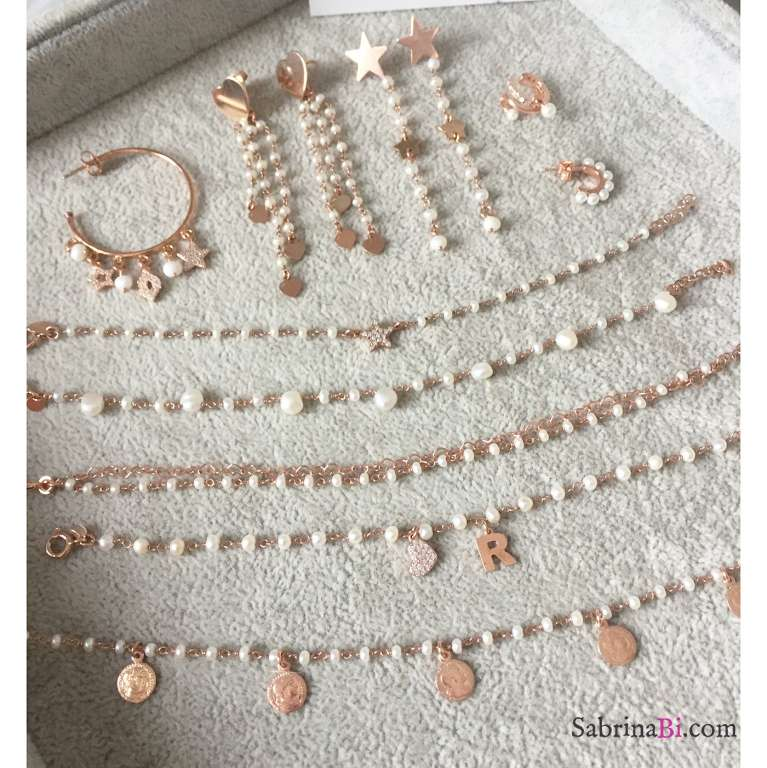 Orecchini pendenti argento 925 oro rosa rosario perle 2 stelle