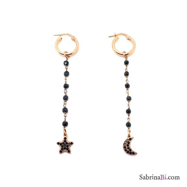 Orecchini pendenti argento 925 oro rosa rosario Spinelli neri Luna Stella