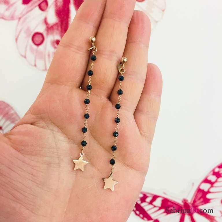 Orecchini pendenti argento 925 oro rosa rosario Zirconi neri e stella
