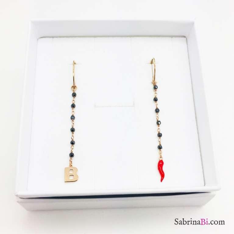 Orecchini pendenti argento 925 oro rosa Spinelli I am lucky