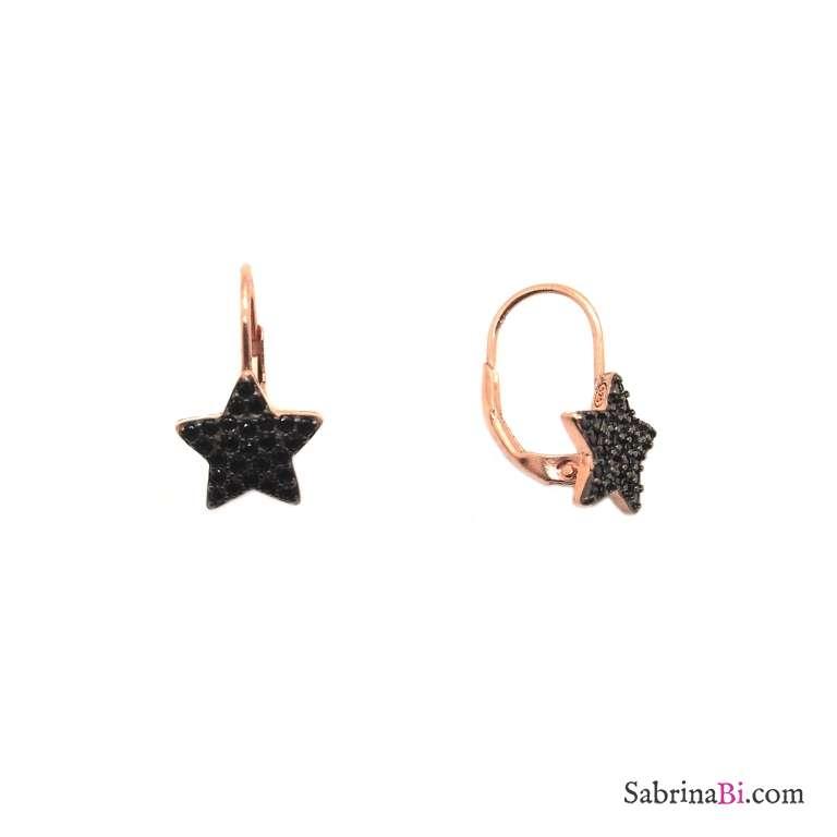 Orecchini pendenti argento 925 oro rosa stella Zirconi neri