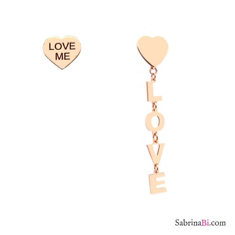 Orecchini pendenti asimmetrici argento 925 oro rosa Love Love me