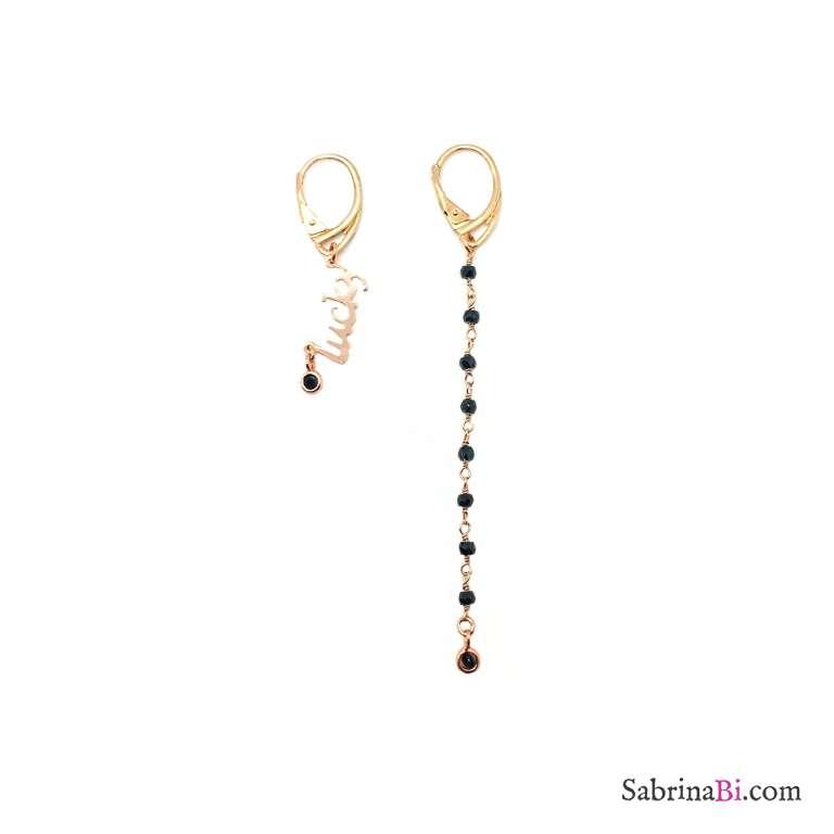 Orecchini pendenti asimmetrici argento 925 oro rosa rosario nero e Lucky