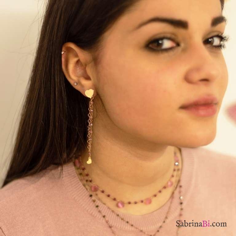 Orecchini pendenti asimmetrici argento 925 oro rosa rosario rosa e cuori