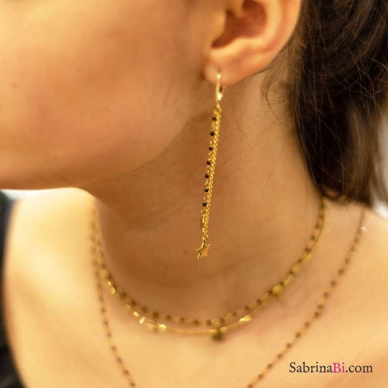 Orecchini pendenti catena argento 925 oro giallo e rosario nero stelle