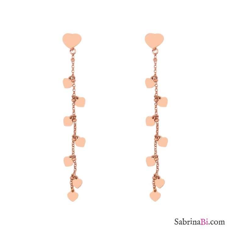 Orecchini pendenti catena rosario argento 925 oro rosa con cuori