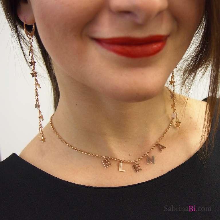 Orecchini pendenti catena rosario argento 925 oro rosa con stelle
