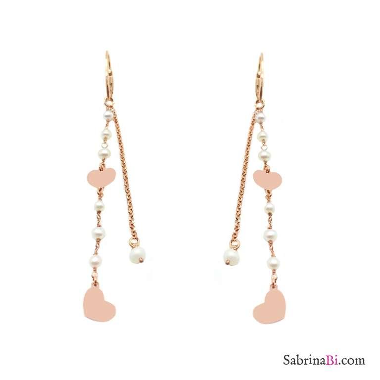 Orecchini pendenti catene argento 925 oro rosa e rosario perle con cuori