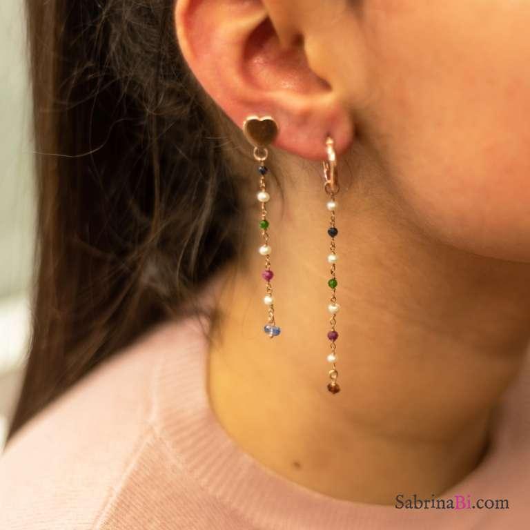 Orecchini pendenti cerchio argento 925 oro rosa rosario colorato
