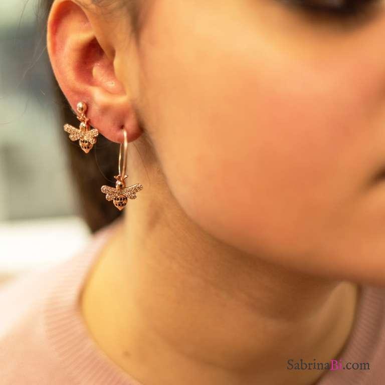 Orecchini pendenti corti argento 925 oro rosa Api Zirconi