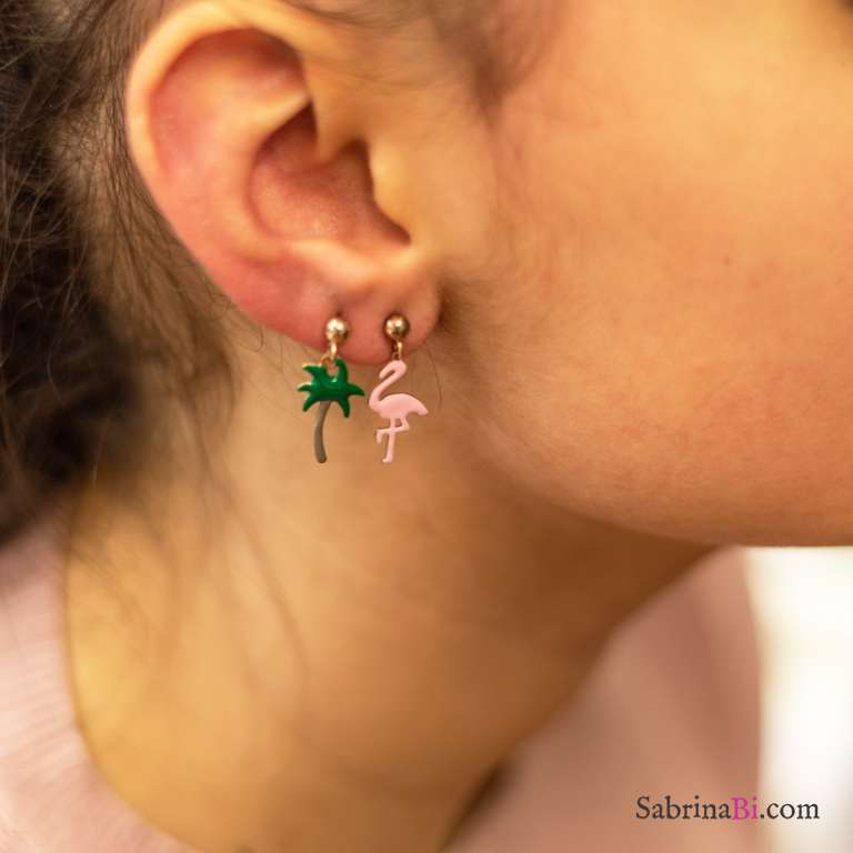 Orecchini pendenti corti argento 925 oro rosa Fenicottero Palma