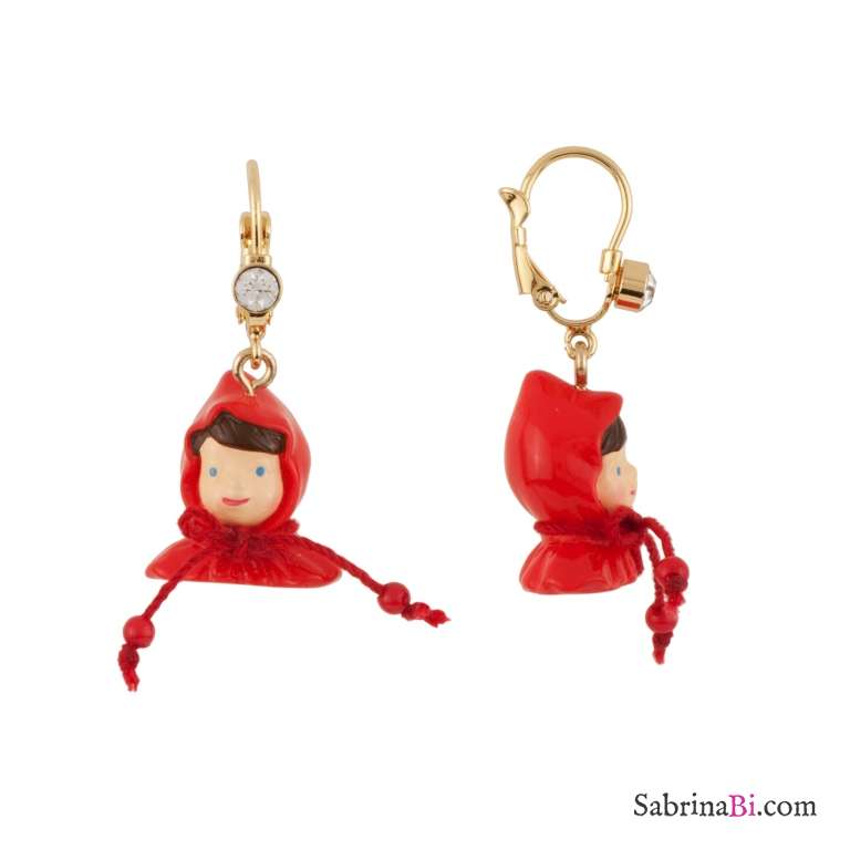 Orecchini pendenti corti testa Cappuccetto Rosso