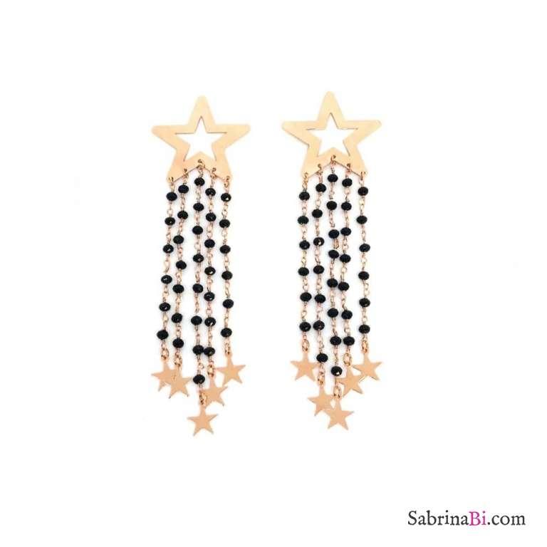 Orecchini pendenti Fall stelle oro rosa con frange rosario nero e stelline