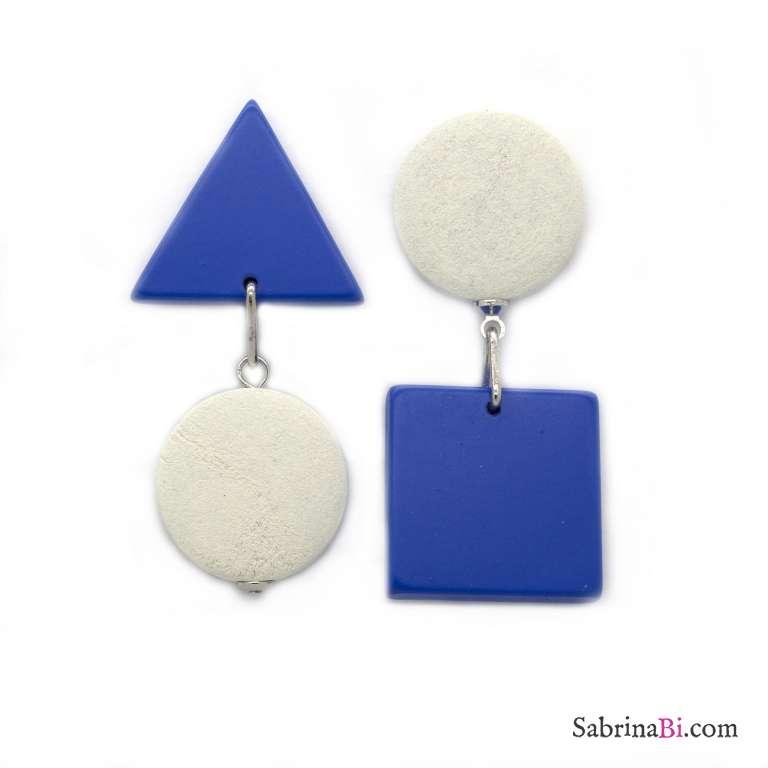 Orecchini pendenti geometrici optical legno blu