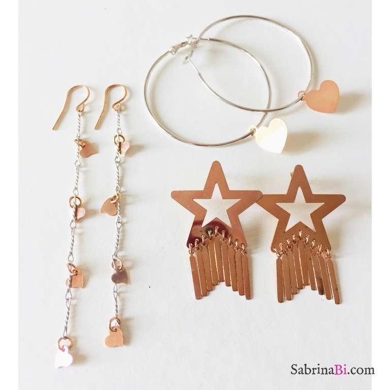 Orecchini pendenti lunghi bicolore argento cuori oro rosa