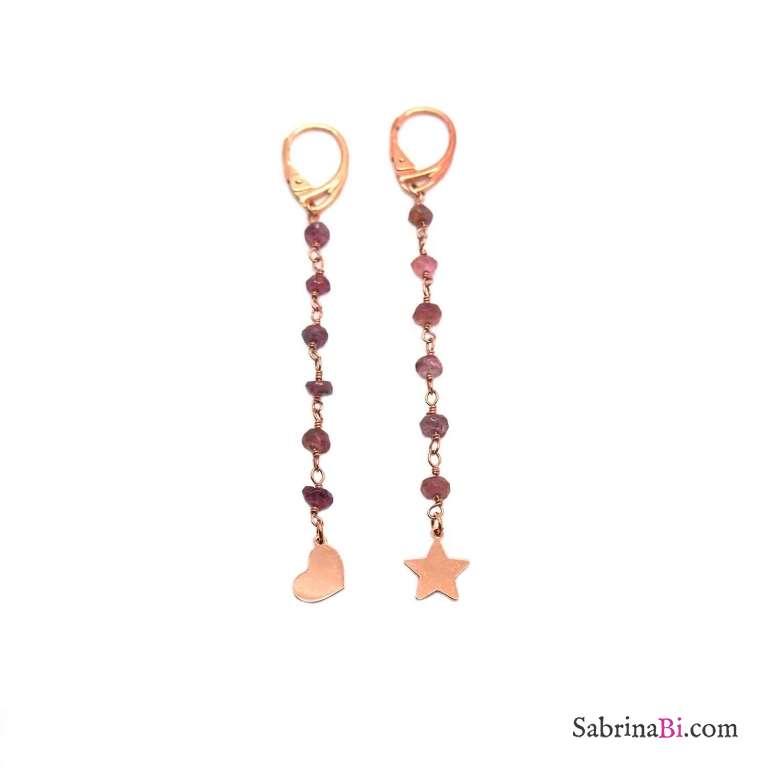 Orecchini pendenti lunghi rosario argento 925 oro rosa pietre dure rosa cuore e stella