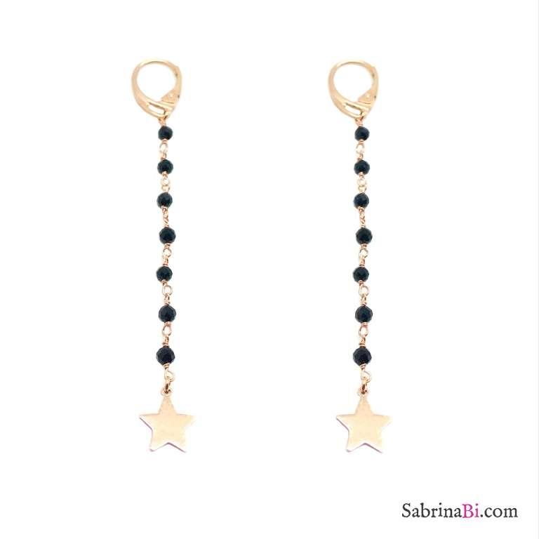 Orecchini pendenti lunghi rosario argento 925 oro rosa Spinelli neri e stelle