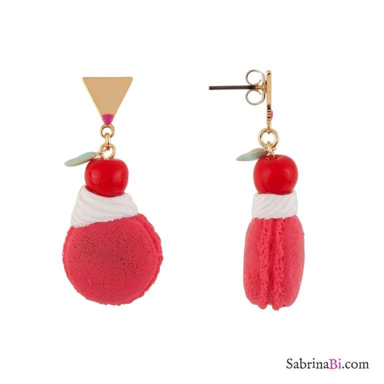 Orecchini pendenti Macaron rosa con panna e ciliegia