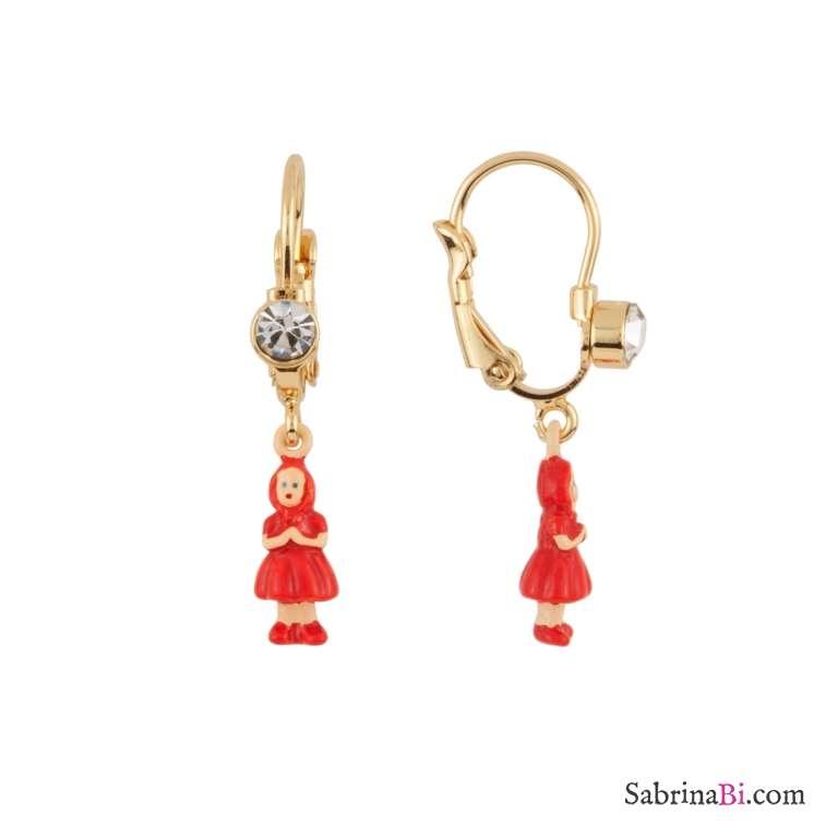 Orecchini pendenti miniatura Cappuccetto Rosso