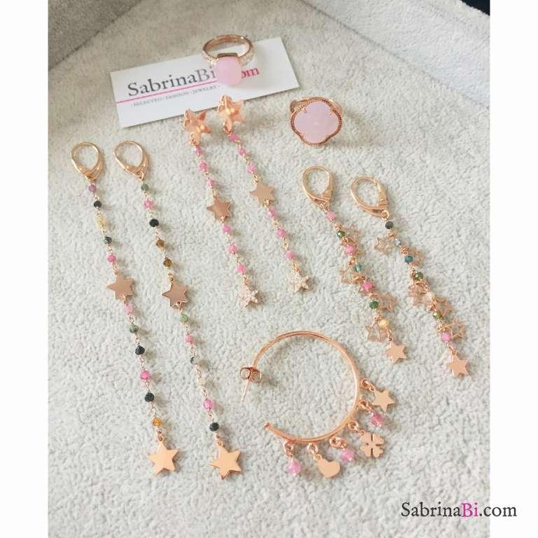 Orecchini pendenti rosario argento 925 oro rosa pietre dure multicolor e stelle
