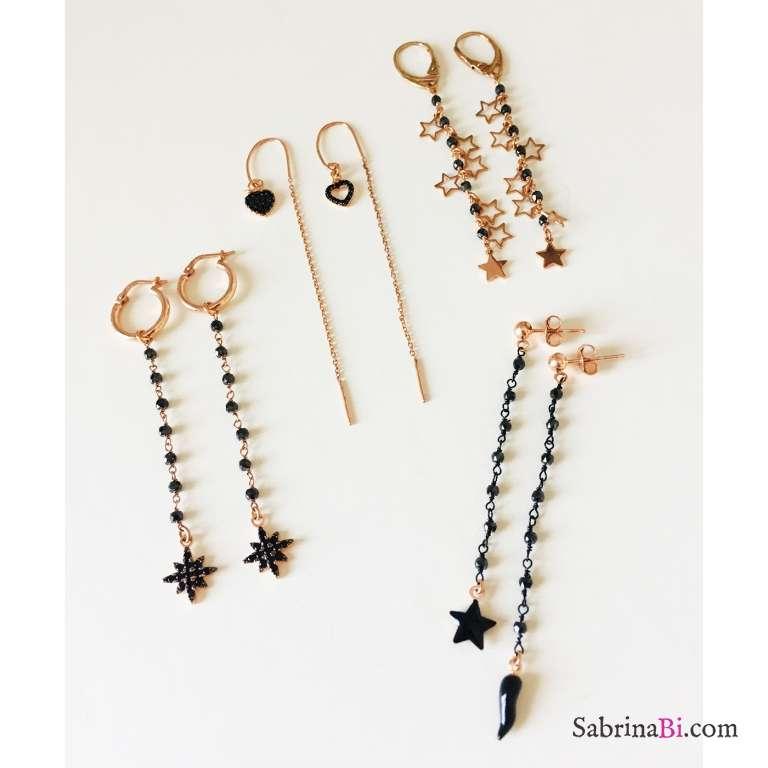 Orecchini pendenti rosario Spinelli neri argento 925 oro rosa con stelle