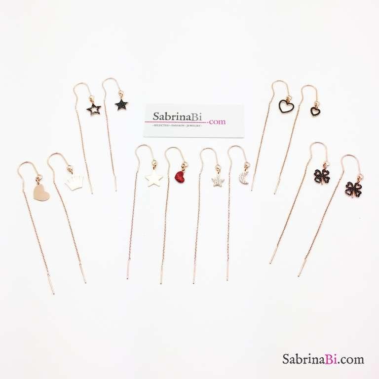 Orecchini thread a filo argento 925 oro rosa pendenti Stella Cuore glitter