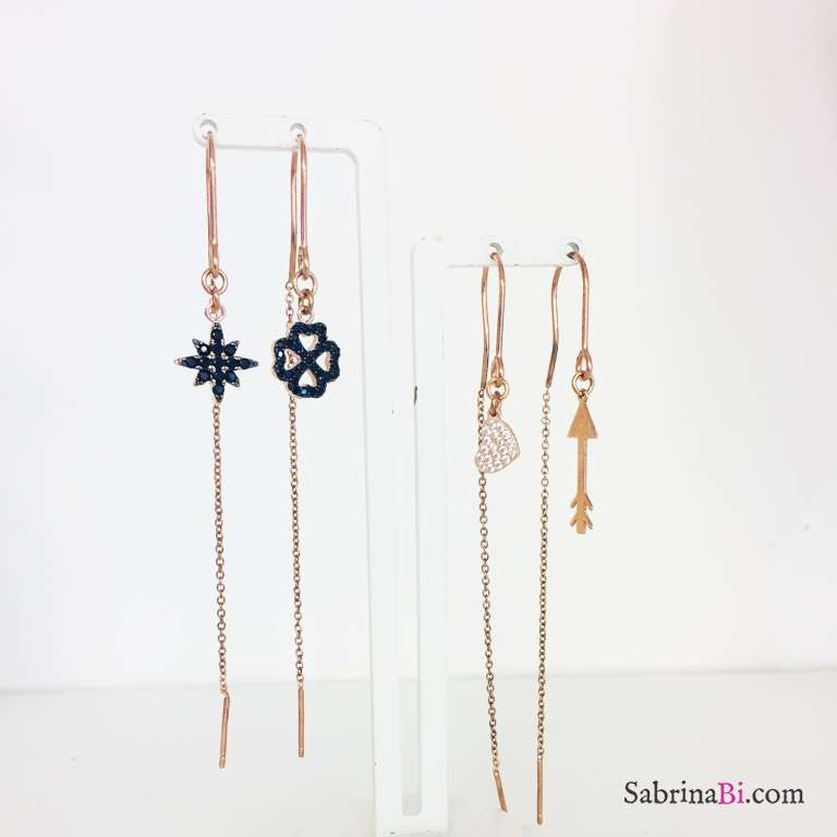 Orecchini thread a filo argento 925 oro rosa Quadrifoglio e Stella Zirconi neri