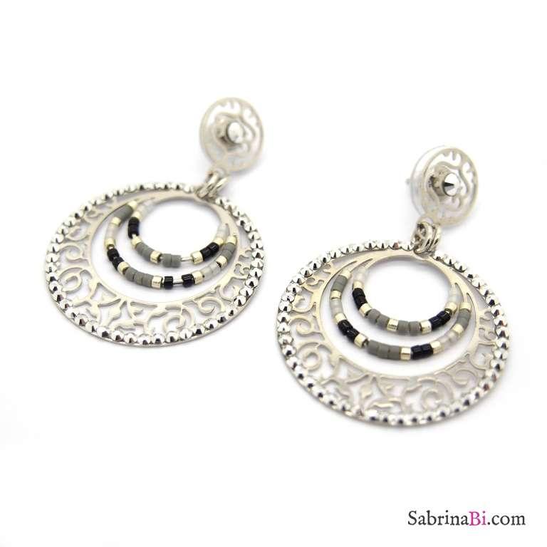 Piccoli orecchini a cerchio filigrana argento e cristalli di Boemia