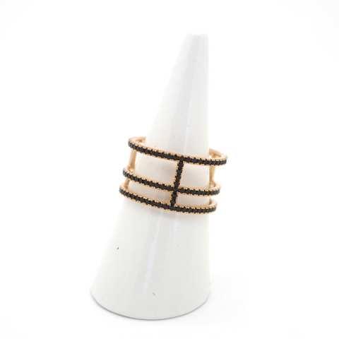 Anello argento 925 bagno oro rosa Trio brillanti neri Tg. 54