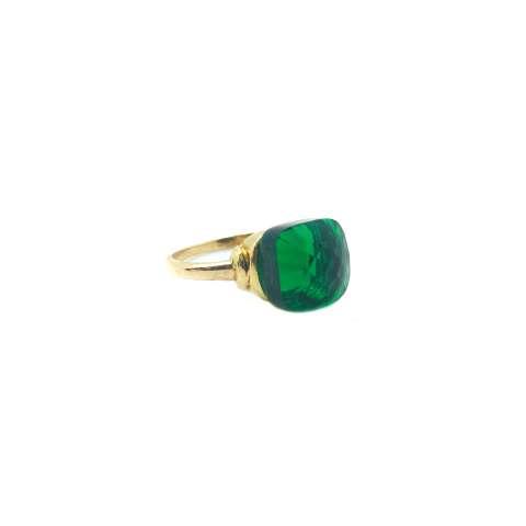 Anello argento 925 oro giallo Opale verde bottiglia