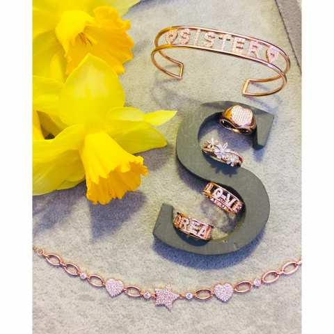 Anello argento 925 oro rosa Fiori brillanti