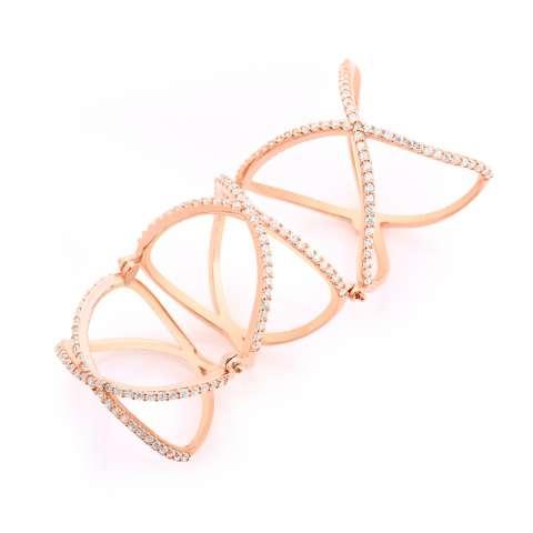 Anello armatura argento 925 oro rosa brillanti