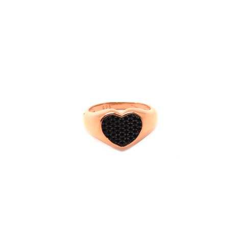 Anello Chevalier argento 925 oro rosa cuore Zirconi neri