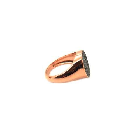 Anello Chevalier mignolo argento 925 oro rosa pavè Zirconi neri