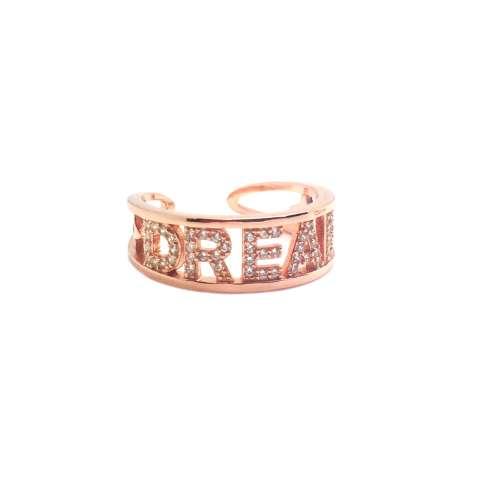Anello fascia regolabile argento 925 oro rosa Dream Zirconi