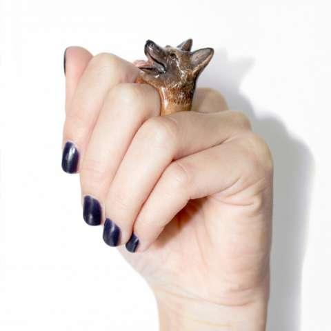 Anello in porcellana cane Pastore Tedesco Tg. L