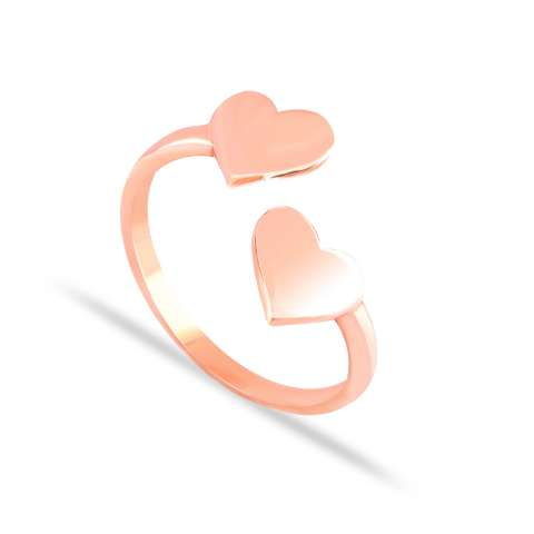 Rose gold sterling silver Two Hearts open ring