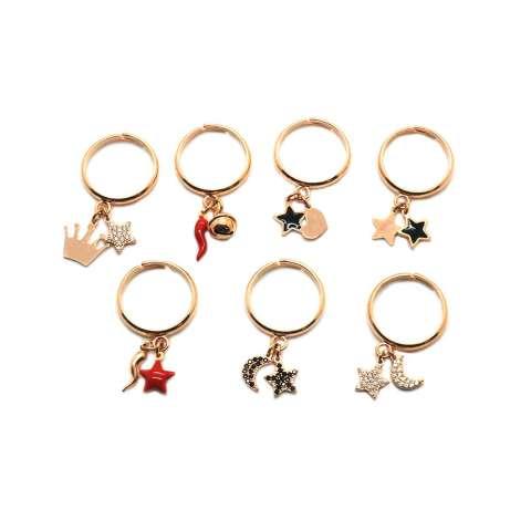 Anello regolabile argento 925 oro rosa Corona + Stella Zirconi