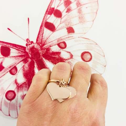 Anello regolabile argento 925 oro rosa doppio cuore grande