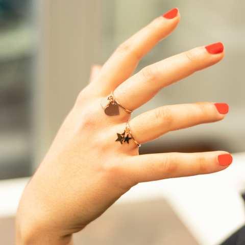 Anello regolabile argento 925 oro rosa doppio cuore